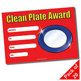 Pack of 20 Clean Plate Award A5 Certificates