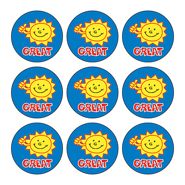 Mini Sheet of 30 Great Sun 16mm Circular Stickers