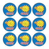 Mini Sheet of 30 Great Sun 16mm Circular Stickers