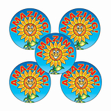 Amazing Sunflower Stickers (30 Stickers - 25mm)