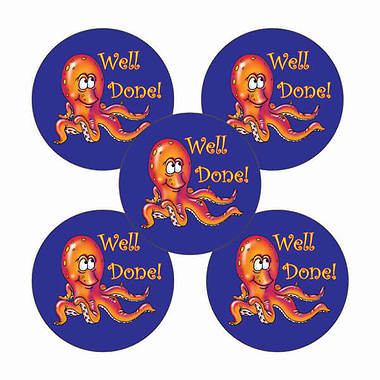 'Well Done' Octopus Stickers (25mm, Multicoloured x 30)