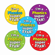 'I'm a Phonics Super Star' Stickers - Multicoloured (30 Stickers - 25mm)