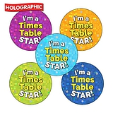 Holographic 'I'm a Times Table Star' Stickers (30 Stickers - 25mm)