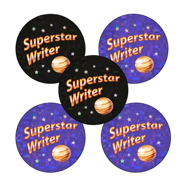 Holographic Superstar Writer Stickers (30 Stickers - 25mm)