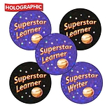 Holographic Superstar Learner Stickers (30 Stickers - 25mm)