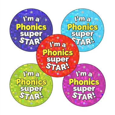 Holographic Phonics Super Star Stickers (30 Stickers - 25mm)
