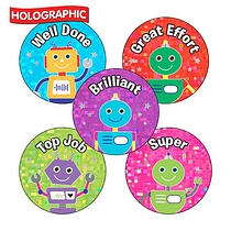 Holographic Robot Stickers (30 Stickers - 25mm)
