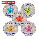 Holographic I am a Maths Star Stickers (30 Stickers - 25mm)