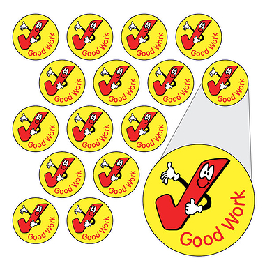 Tick Stickers - Good Work (196 Stickers - 10mm)