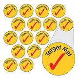 Sheet of 196 Diddi Dot Target Met Tick 10mm Stickers