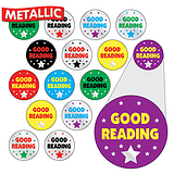Sheet of 196 Diddi Dot Good Reading Metallic 10mm Stickers