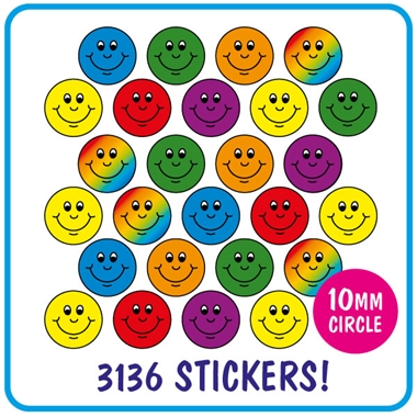 Smiley Stickers Value Pack (3136 Stickers - 10mm)