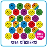 Value Pack of 3136 Mixed Smiles 10mm Stickers