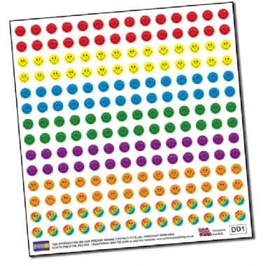 Sheet of 196 Diddi Dot Smiles 10mm Stickers