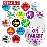 Sheet of 196 Diddi Dot On Target Metallic 10mm Stickers