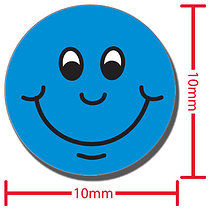 Sheet of 196 Diddi Dot Blue Smiles 10mm Stickers