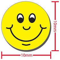 Yellow Smiles 10mm Diddi Dot Stickers x 196