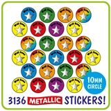 Value Pack of 3136 Mixed Stars Metallic 10mm Stickers