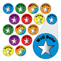 Sheet of 196 Well Done Stars Metallic 10mm Stickers