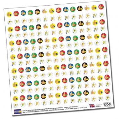 Sheet of 196 Diddi Dot Wands & Thumbs 10mm Stickers