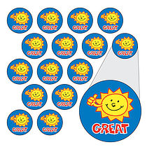 Sun Stickers - Great (196 Stickers - 10mm)