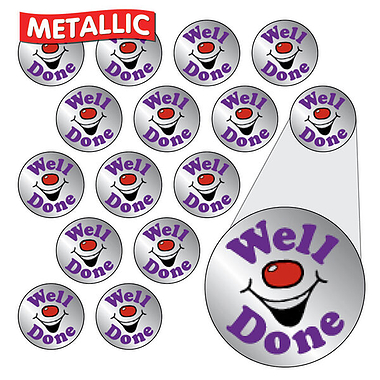 Sheet of 196 Diddi Dot Well Done Metallic 10mm Stickers