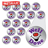 Metallic Smiley Stickers - Well Done (196 Stickers - 10mm)