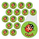 Sheet of 196 Diddi Dot Good Ladybird 10mm Stickers