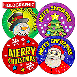 Holographic Christmas Sparkling Stickers (36 Stickers - 35mm)