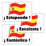 Sheet of 32 Mixed Spanish 46mm x 30mm Stickers