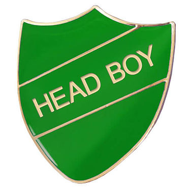 Head Boy Enamel Badge - Green (30mm x 26mm)