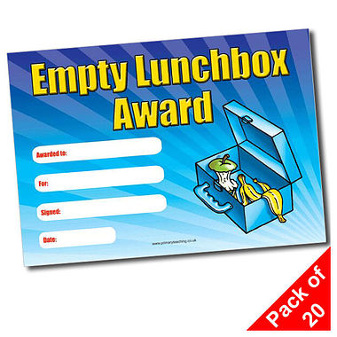 Pack of 20 Empty Lunchbox Award A5 Certificates