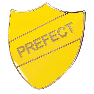 Prefect Enamel Badge - Yellow (30mm x 26mm)