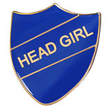 Head Girl Enamel Badge - Blue (30mm x 26mm)