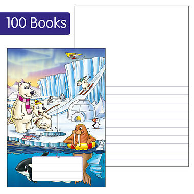 Box of 100 Polar Themed 40 Page Lined/Blank Exercise Book