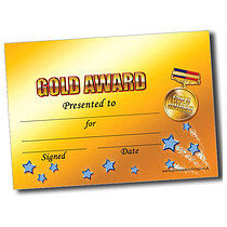 Personalised A5 Gold Award Certificates