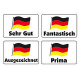 Sheet of 32 Mixed German 46mm x 30mm Stickers