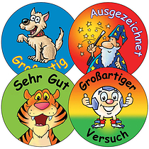 Sheet of 35 Mixed German 37mm Circular Stickers