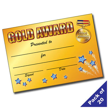 Pack of 20 Gold Award A5 Certificates