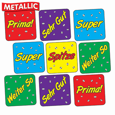Sheet of 140 Mixed Wording Metallic 16mm Stickers