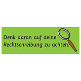 German Remember to Check Your Spelling Stickers (56 Stickers - 46mm x 16mm)