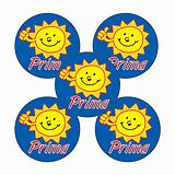Sheet of 70 Sunshine Prima 25mm Stickers