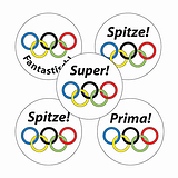 Sheet of 70 Mixed Sheet Sports Rings 25mm Stickers