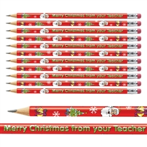 12 Merry Christmas from your Teacher Metallic Finish Pencils