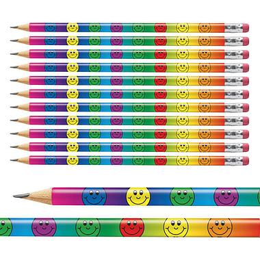 Pack of 12 Smiley Face Multicoloured Pencils