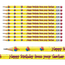 Pack of 12 Happy Birthday Metallic Finish Pencils
