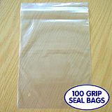 "Pack of 100 7"" x 9.5"" Grip Seal Bags Clear"