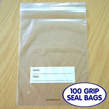 "Pack of 100 7"" x 9.5"" Grip Seal Bags with Class/Name panel"