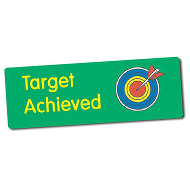 Sheet of 56 Target Achieved 46mm x 16mm Stickers