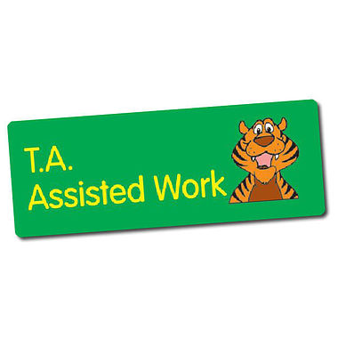Sheet of 56 T.A. Assisted Work 46mm x 16mm Stickers